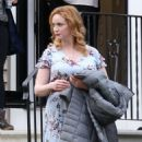 Christina Hendricks – Filming 'The Burning Woman' in Brockton - 454 x 564