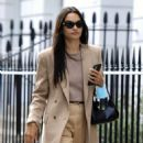 Shanina Shaik – Stylish in her beige trousers and jacket while out in London