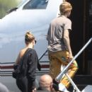 Hailey Bieber and Justin Bieber – Seen boarding a jet in Los Angeles