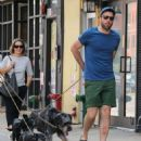 Zachary Quinto was spotted walking his dogs in New York City, New York on August 5, 2016