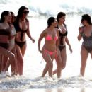 Kourtney Kardashian in Red Bikini at the beach in Tulum - 454 x 340