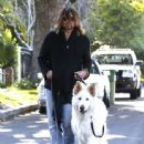 Billy Ray Cyrus takes his dogs out for a relaxing stroll through his neighborhood in Toluca Lake, California on April 4, 2014 - 443 x 594