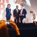 "Mick Jagger, Chadwick Boseman and Tate Taylor talk prior to a special screening of ""Get On Up"" on September 14, 2014 in London, England"