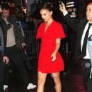 Natalie Portman – In Red dress outside Good Morning America in New York