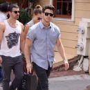 Blanda, Nick & Joe Jonas at Pinkberry ice cream in Washington, DC on July 28, 2013