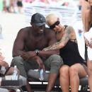 Amber Rose and French Montana on the beach in Miami, Florida - May 14, 2017 - 454 x 623
