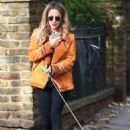 Caroline Flack with her dog out in London - 454 x 681