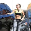 Miley Cyrus in Sports Bra out in LA