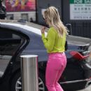Ashley Roberts – In pink leather pants and yellow leaving the Heart Radio Studios in London - 454 x 638