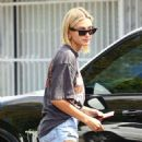 Hailey Baldwin in Shorts at Kings Road Cafe in Los Angeles
