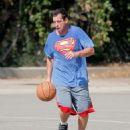 Adam Sandler was spotted playing basketball with his friends in Brentwood, California on October 15, 2016 - 454 x 570