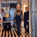 Lady Gaga – Wear Gold Blouse paired with Trousers as she Steps out in New York City