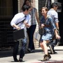 "Jessica Stroup and a new male co-star share a laugh in between filming for the CW's ""90210"" in Los Angeles"