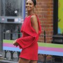 Alesha Dixon in Red Dress out in Soho - 454 x 851