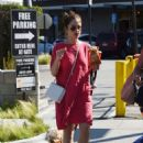 Minka Kelly in Red Dress with her dogs in Los Angeles - 454 x 615