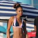Joan Smalls in Bikini on the beach in Miami - 454 x 688