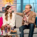 Elizabeth Olsen and Paul Bettany on 'Lorraine' TV show in London - 454 x 578