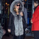 Paris Hilton in faux-fur-lined coat out in Manhattan