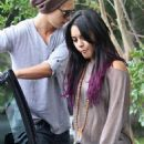 Vanessa Hudgens and Austin Butler were spotted leaving Roma Cafe in Los Angeles today, June 15