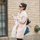 Katie Holmes in Pink Coat out in New York City - 454 x 681