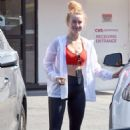 Julianne Hough in Red Sports Bra – Hitting the gym in Studio City