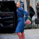 Elsa Hosk in Long Jeans Coat – Out in NYC - 454 x 565