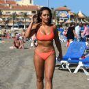 Sophie Kasaei in Red Bikini on the beach in Mykonos - 454 x 653