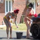 Jemma Lucy and Laura Alicia Summers in Bikini – Car Washing in Manchester - 454 x 436