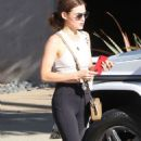 Lucy Hale in Tights – Hits the gym in LA