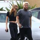 Kristen Stewart and Stella Maxwell with a friend at the Ye Rustic Inn in Los Feliz