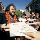 Director Peter Jackson signs autographs at the New Zealand Premiere of The Return of the King.