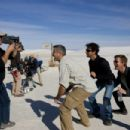 (Left to right.) Cinematographer Robert Elswit, George Clooney, director Grant Heslov and Ewan McGregor on the set of Overture Films´ THE MEN WHO STARE AT GOATS. Photo Credit: Laura Macgruder (c) 2009 Westgate Film Services, LLC. All Rights Reserved.