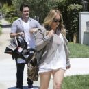 Hilary Duff house hunting with Mike Comrie and newborn baby boy Luca in West Hollywood, CA (July 28)