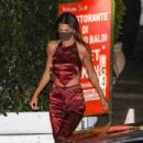 Kendall Jenner – In a silk red two piece fit on a date with Devin Booker in Santa Monica