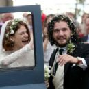 Kit Harington and Rose Leslie – Arriving at their wedding in Scotland - 454 x 314