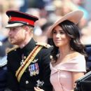 Prince Harry Windsor and Meghan Markle attend the 2018 Trooping the Colour ceremony - 454 x 534