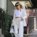Hailey Baldwin in White Suit with her stylist in West Hollywood