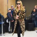 Rosie Huntington Whiteley in Animal Print Coat – Arrives at JFK Airport in NYC
