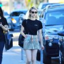 Emma Roberts in Mini Skirt on Melrose Avenue in Los Angeles
