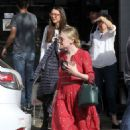Dakota Fanning in Red Dress out for lunch in Studio City