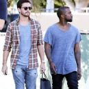 Stylish boys: Scott and Kanye stepped out wearing matching gold bangles and necklaces as they went shopping out in LA together and now head home after a hard day's shopping in Bel Air