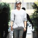 Patrick Schwarzenegger is spotted grabbing lunch with his Dad at Cafe Roma in Beverly Hills, California on March 28, 2017 - 411 x 600
