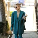 Hailey Baldwin in Blue Suit – Out in Los Angeles