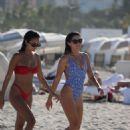 Anastasia Ashley in Blue Print Swimsuit on the beach in Miami