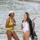 Cassandra Jean in White Swimsuit on thr beach in St. Barts - 454 x 681