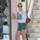 Hailey Clauson in Green Shorts at Alfred's Tea Room in Los Angeles - 454 x 684
