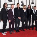 Musicians Franz Stahl, Nate Mendel, Pat Smear, Taylor Hawkins, Dave Grohl, and Chris Shiflett of Foo Fighters attend The 58th GRAMMY Awards at Staples Center on February 15, 2016 in Los Angeles, California. - 454 x 351