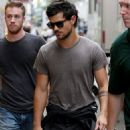 Taylor Lautner retreated to his trailer after filming a scene for his new movie, Tracers, in New York City. (July 24)