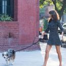 Helena Christensen – Seen With Her Dog in New York - 454 x 681