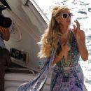 Paris Hilton in Long Dress – On a Yacht in Mykonos